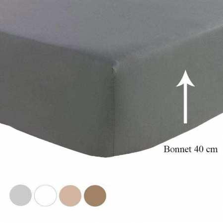 Drap Housse Satin de Coton Prestige 240 fils/cm² BONNET 40 cm